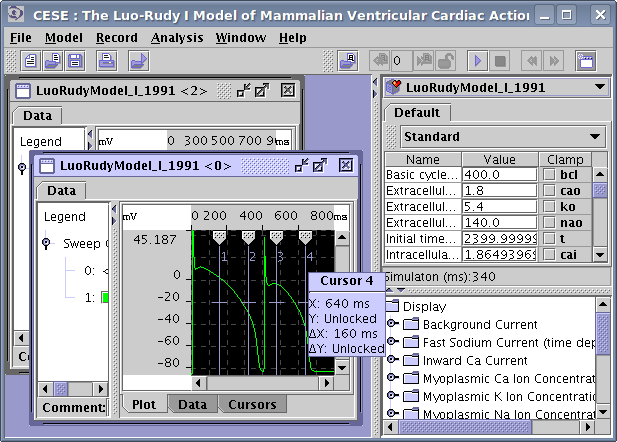 Main CESE window after 2 simulations. Results for each simulation are displayed in the separate window. The Luo-Rudy phase I model was used, and Membrane Voltage was selected for the visualization.