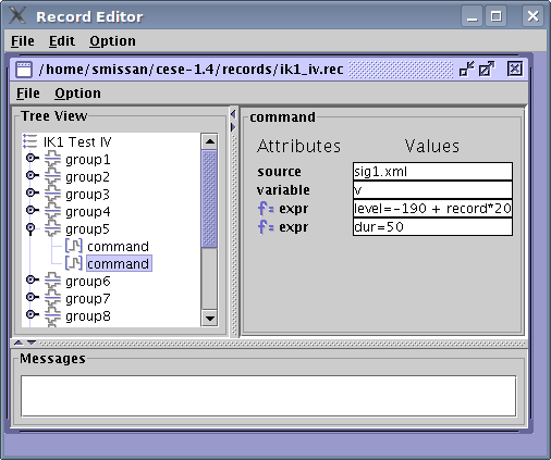 Record Editor is used to specify clamping commands. You connect certain model variable (in this case the Membrane Voltage — v) to the command file (sig1.xml). There are 13 groups in this file, we are changing Membrane Voltage in 20 mV increments to generate the I-V.